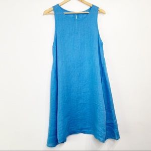 CP Shades Blue Linen Dress with Pockets